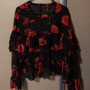 Black and Floral print Long Sleeve Blouse